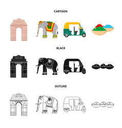 Country india cartoonblackoutline icons in set vector