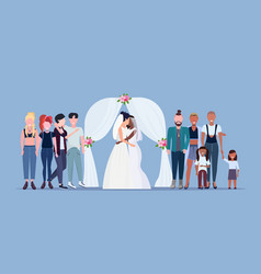 couple newly weds lesbians in white dress standing vector image