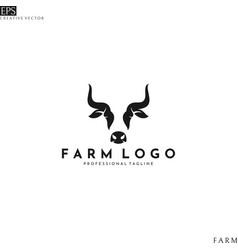 cow head logo template vector image