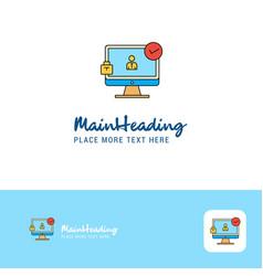 creative avatar on monitor logo design flat color vector image