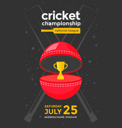 cricket championship poster vector image