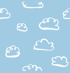 cute hand drawn clouds on sky seamless pattern vector image