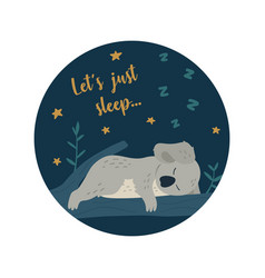 Cute koala bear sleeps on the tree modern kids vector