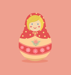 cute russian doll pink flower vector image