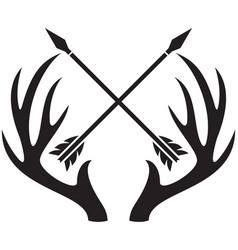 deer antlers and crossed arrows vector image