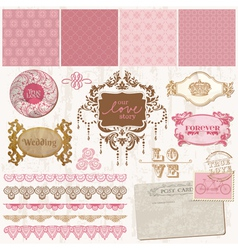 design elements - Vintage Wedding Set vector image vector image