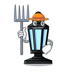 Farmer street lamp character cartoon vector