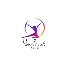 fitness women logo design vector image