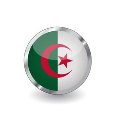 flag of algeria button with metal frame and vector image