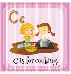 Flashcard of c is for cooking vector