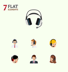 Flat center set of earphone hotline call center vector