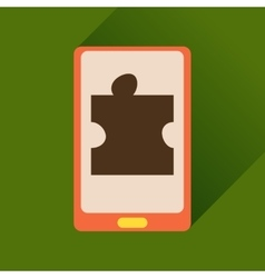 Flat icon with long shadow mobile phone puzzle vector
