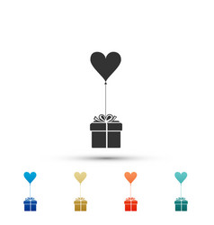 gift with balloon in shape of heart icon isolated vector image