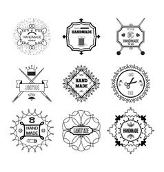 Handmade Hipster Style Monochrome Linear Emblems vector