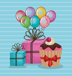 happy birthday card with gifts and balloons helium vector image