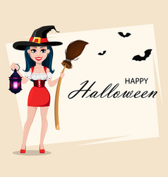 happy halloween greeting card with sexy witch vector image