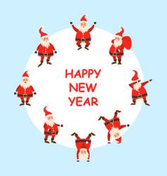happy new year 2021 card set funny santa clause vector image