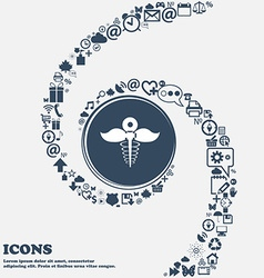 Health care icon in the center Around the many vector
