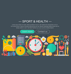 healthy lifestyle concept with food and sport vector image