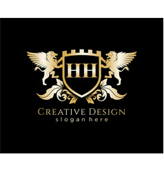 hh letter initial with lion royal logo template vector image