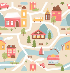 house village with river seamless pattern texture vector image