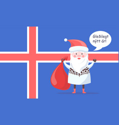 Icelandic santa claus greets with happy new year vector