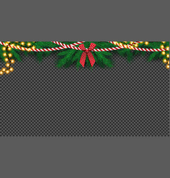 isolated christmas tree garland with bow and bulb vector image