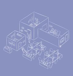 isometric office building working enviro vector image
