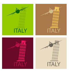 italy famous landmark silhouette tower of pisa vector image