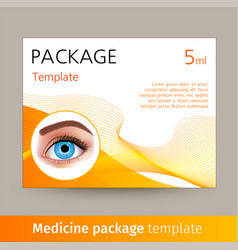 medicine package template with realistic vector image