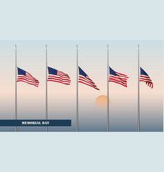 Memorial day card flags usa vector