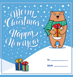 merry christmas greeting card with bear vector image