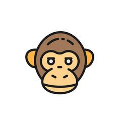 Monkey chimpanzee gorilla head flat color vector