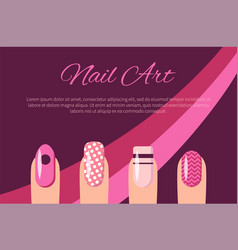 Nail art multicolored poster vector