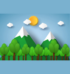 nature landscape with mountain and tree paper vector image