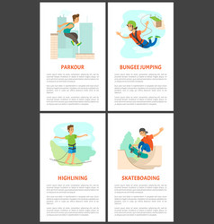 parkour and skateboarding young male poster set vector image