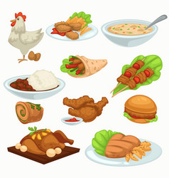 period harvesting dishes made poultry meat vector image