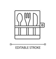 picnic cutlery linear icon vector image