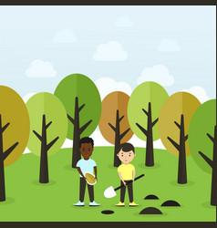planting a tree vector image