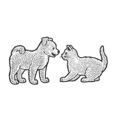puppy and kitten line art sketch vector image