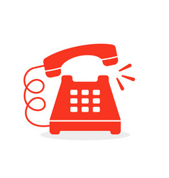 red vintage ringing phone icon vector image