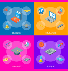 school equipments and tools banner set isometric vector image