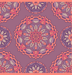 seamless floral medallion pattern vector image