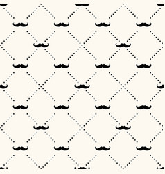 Seamless retro pattern with mustache vector
