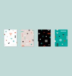 set 4 placard with geometric bauhaus shapes vector image