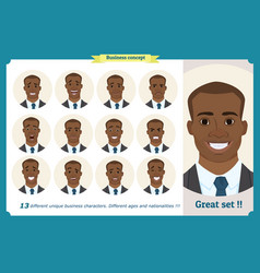 set male facial emotions black american man vector image