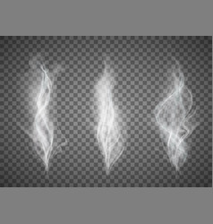 set of white smoke pattern on a transparent vector image
