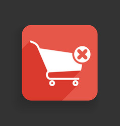 Shopping cart icon with cancel sign vector