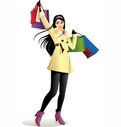 Shopping girl in yellow vector
