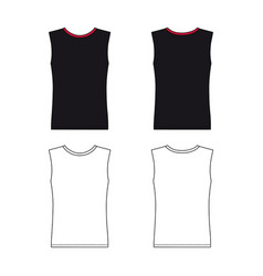 Sleeveless t-shirt outlined template vector